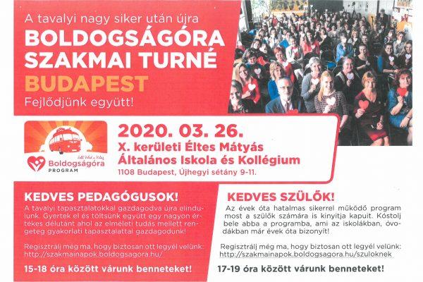 ELMARAD!!!  Boldogságóra Szakmai Turné – 2020.03.26.